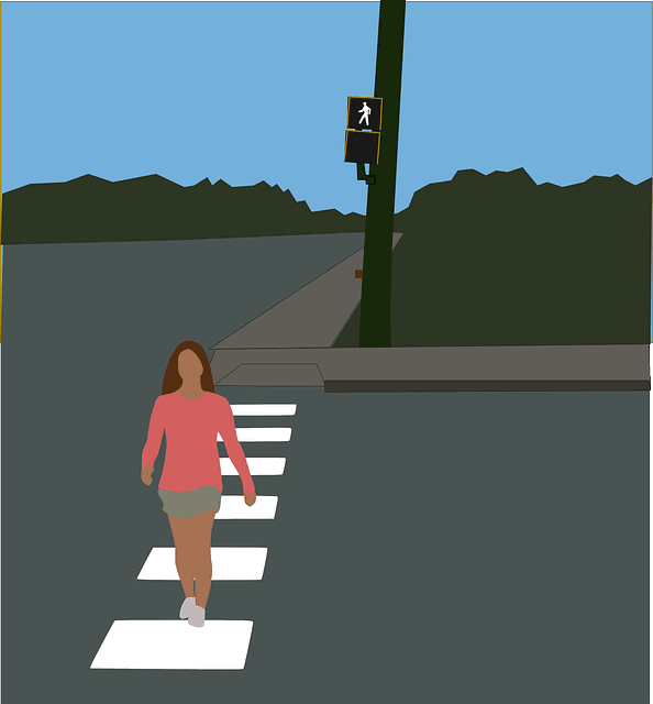Rendering of a person crossing a road in a crosswalk.