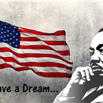 Martin Luther King with flag-fixed