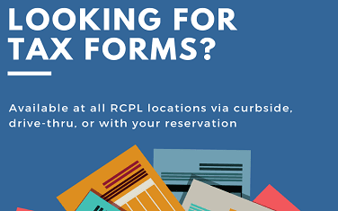 Tax forms available at RoCo Libraries graphic
