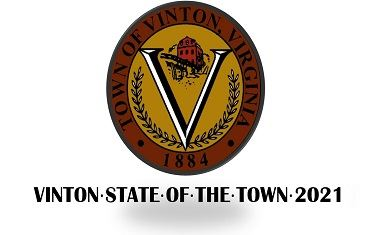 Vinton Logo with State of the Town 2021 wording below the logo.